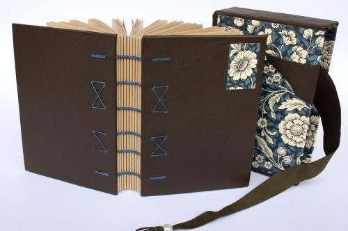 leather bound Coptic style book with slipcase