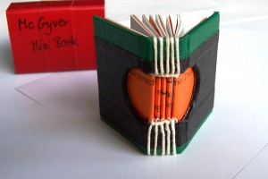 miniature book made with duct tape