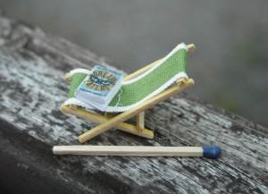 miniature deckchair with book