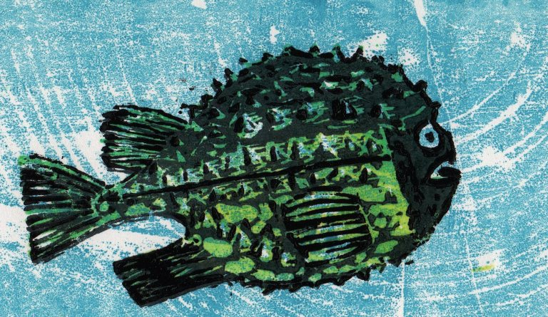 detail of fish wood cut by H. Kurzke